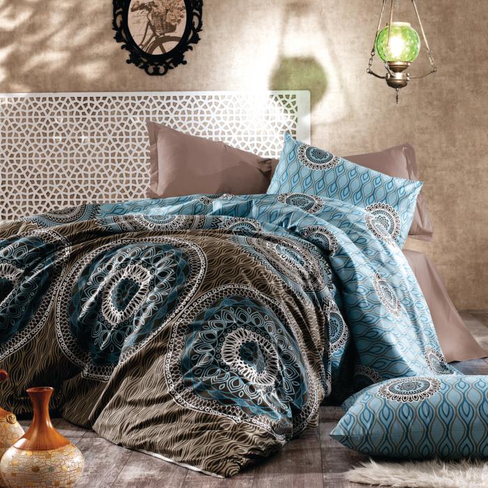 Lenjerie de pat matrimonial cu husa de perna dreptunghiulara, Insula Zeilor, bumbac satinat, gramaj tesatura 120 g/mp, multicolor 0