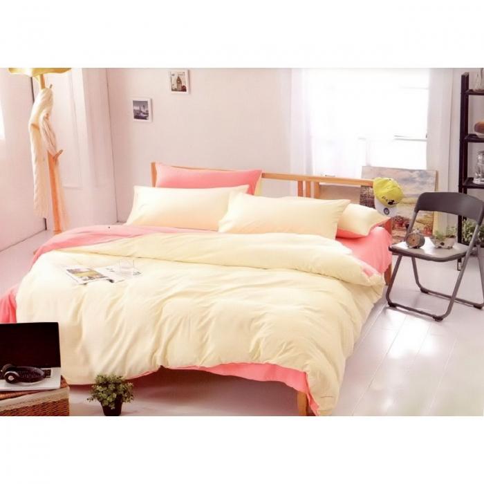 Lenjerie de pat matrimonial cu husa de perna dreptunghiulara, Jollie, bumbac satinat, gramaj tesatura 120 g/mp, Roz pudra [0]