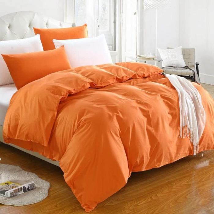 Lenjerie de pat matrimonial cu husa de perna dreptunghiulara, June, bumbac satinat, gramaj tesatura 120 g/mp, Portocaliu 0