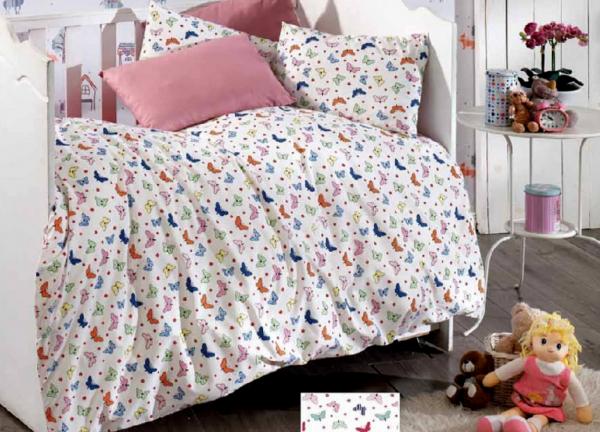 Lenjerie de pat pentru o persoana cu husa de perna dreptunghiulara, Kids, bumbac satinat, gramaj tesatura 120 g/mp, multicolor 0