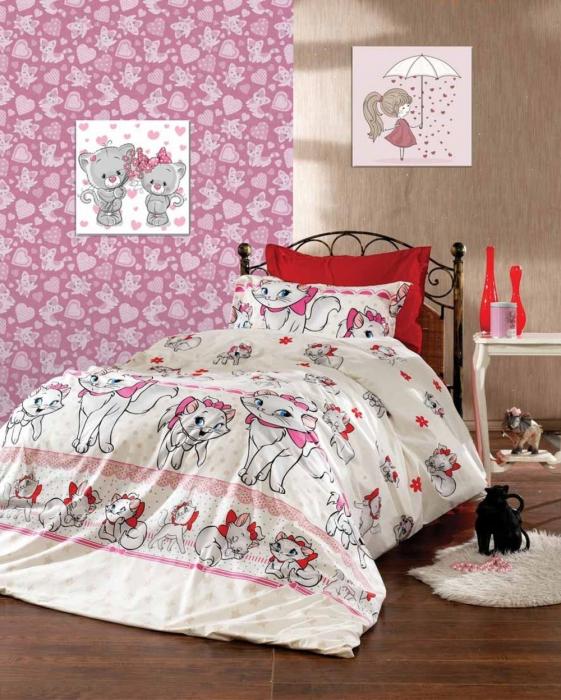 Lenjerie de pat matrimonial cu husa de perna dreptunghiulara, Kitty, bumbac satinat, gramaj tesatura 120 g/mp, multicolor 0