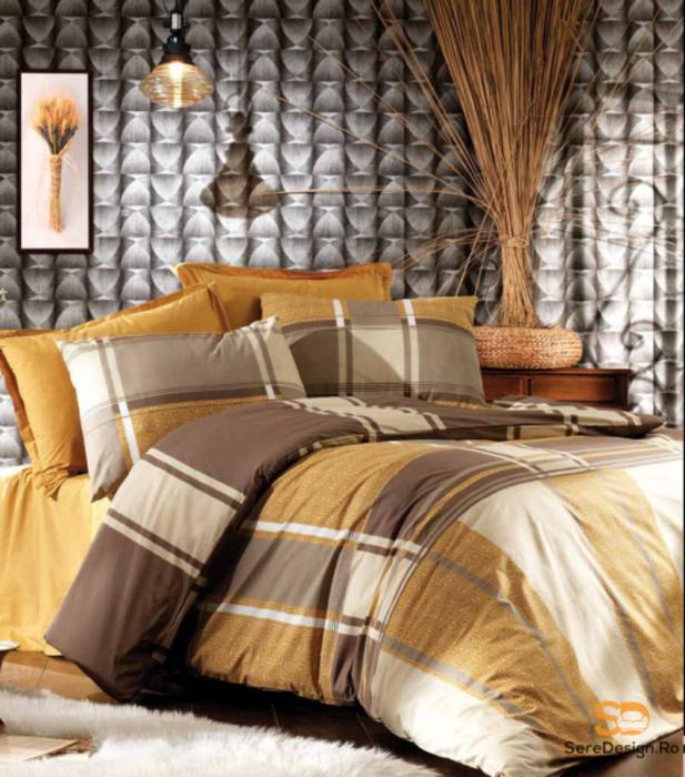 Lenjerie de pat matrimonial cu husa de perna dreptunghiulara, Liniar, bumbac satinat, gramaj tesatura 120 g/mp, multicolor [0]