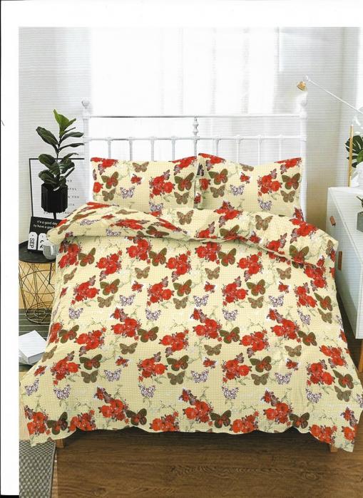 Lenjerie de pat matrimonial cu husa de perna dreptunghiulara, Melbourne, bumbac mercerizat, multicolor 0