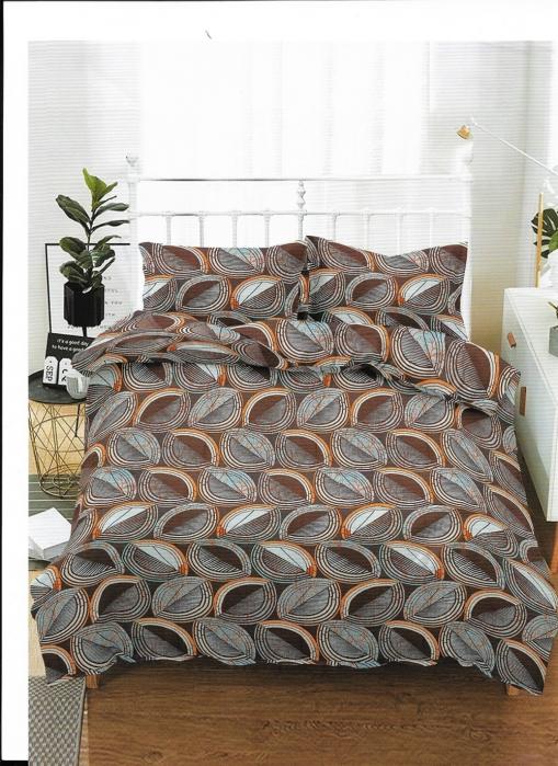 Lenjerie de pat matrimonial cu husa de perna dreptunghiulara, Nest, bumbac mercerizat, multicolor [0]