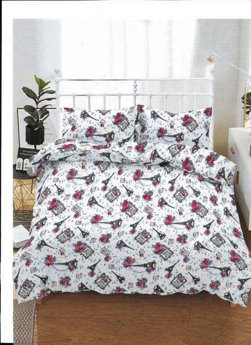 Lenjerie de pat matrimonial cu husa de perna dreptunghiulara, Nice, bumbac mercerizat, multicolor [0]