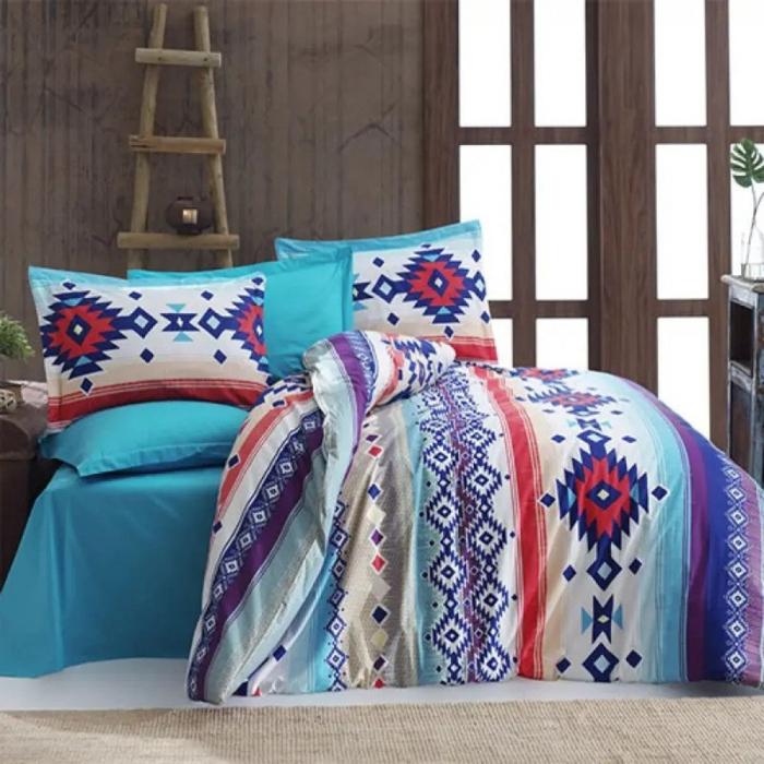 Lenjerie de pat matrimonial cu husa de perna dreptunghiulara, Nordic, bumbac satinat, gramaj tesatura 120 g/mp, multicolor 0