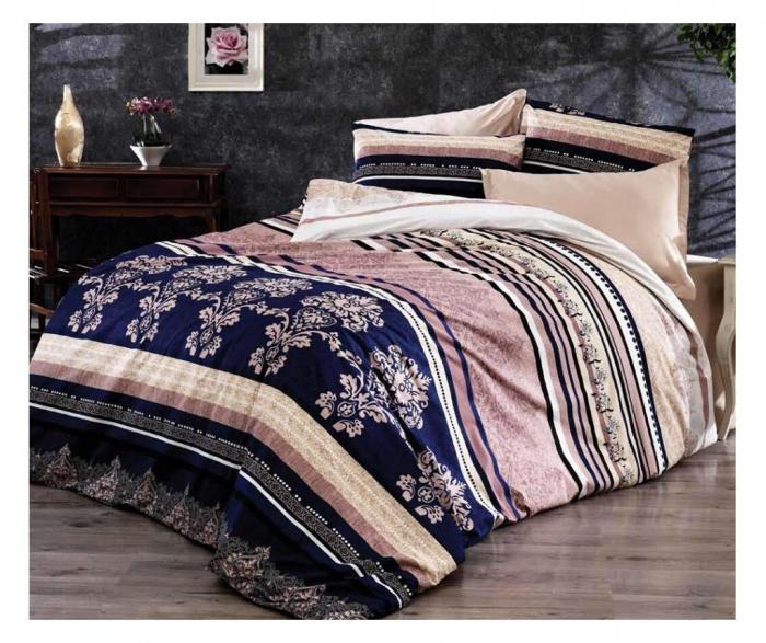 Lenjerie de pat matrimonial SUPER cu husa de perna dreptunghiulara, Pink rose, bumbac satinat, gramaj tesatura 120 g/mp, multicolor [0]