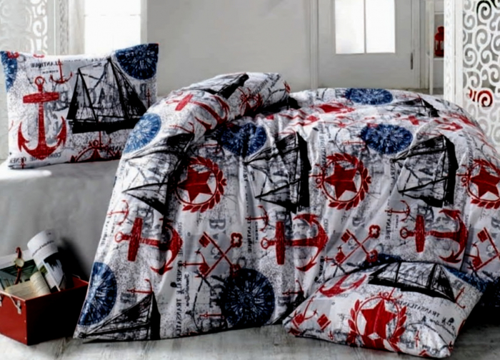 Lenjerie de pat matrimonial cu husa de perna dreptunghiulara, Pirate, bumbac satinat, gramaj tesatura 120 g/mp, multicolor 0
