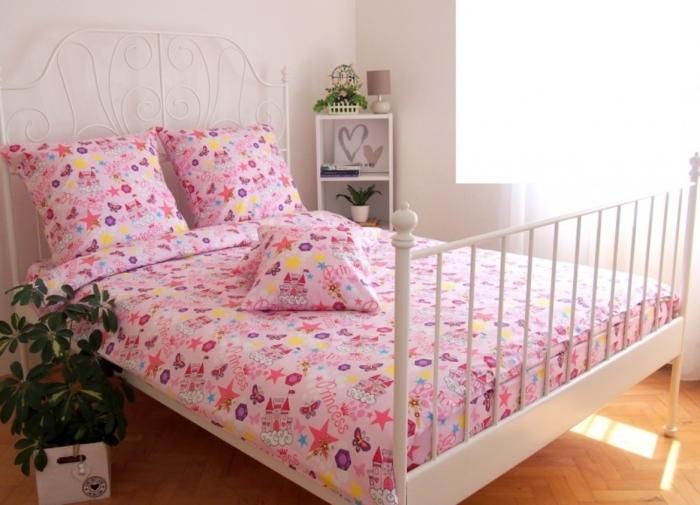 Lenjerie de pat matrimonial cu husa de perna dreptunghiulara, Princess, bumbac satinat, gramaj tesatura 120 g/mp, multicolor [0]