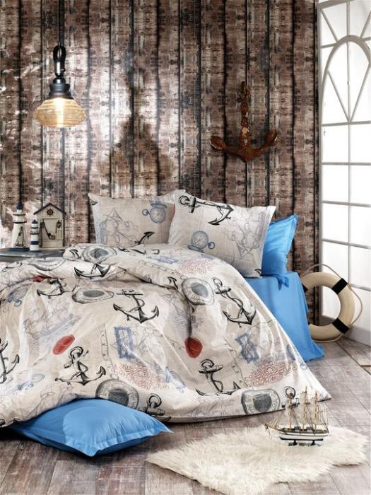 Lenjerie de pat pentru o persoana cu husa de perna dreptunghiulara, The sailor, bumbac satinat, gramaj tesatura 120 g/mp, multicolor [0]