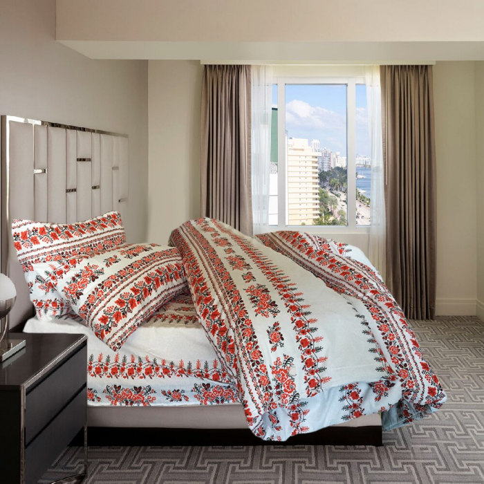 Lenjerie de pat matrimonial cu husa de perna dreptunghiulara, Traditional, bumbac satinat, gramaj tesatura 120 g/mp, multicolor 1