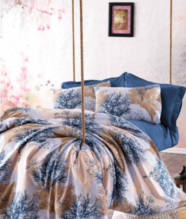 Lenjerie de pat matrimonial cu husa de perna dreptunghiulara, Vampire, bumbac satinat, gramaj tesatura 120 g/mp, multicolor 0