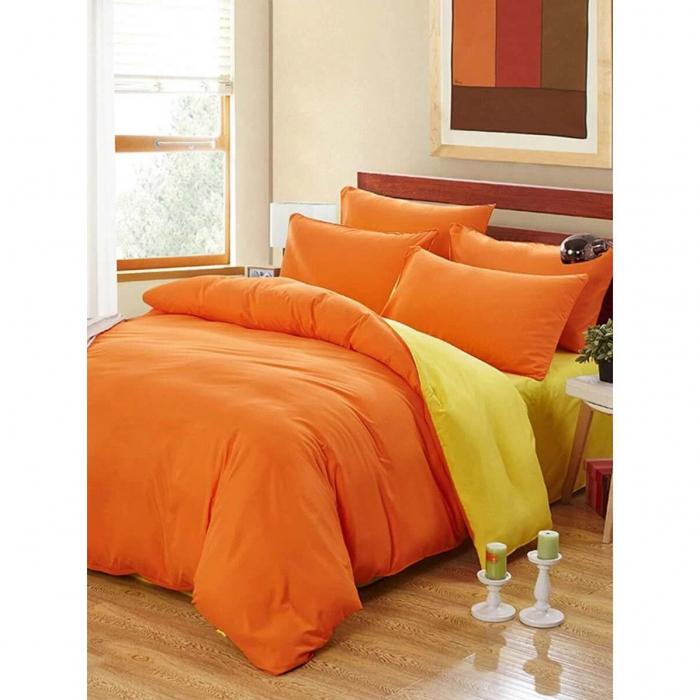 Lenjerie de pat matrimonial cu husa de perna dreptunghiulara, Watford, bumbac satinat, gramaj tesatura 120 g/mp, Portocaliu 0
