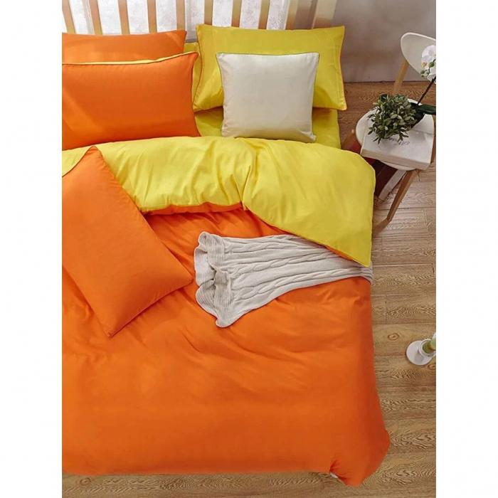 Lenjerie de pat matrimonial cu husa de perna dreptunghiulara, Watford, bumbac satinat, gramaj tesatura 120 g/mp, Portocaliu 1