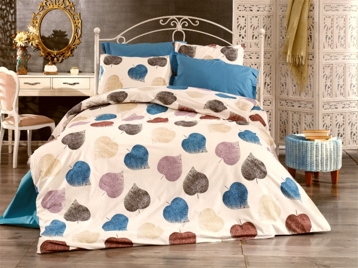 Lenjerie de pat matrimonial cu husa elastic pat si fata perna dreptunghiulara, Zoey, bumbac satinat, gramaj tesatura 120 g/mp, multicolor [0]