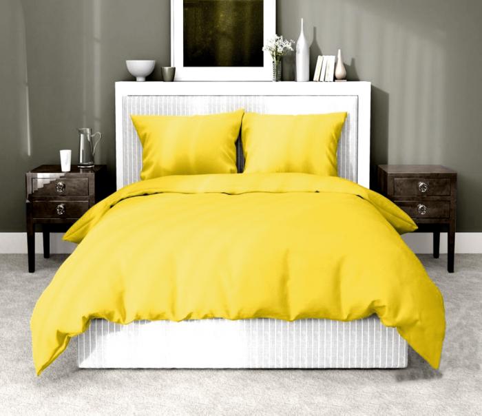 Lenjerie de pat matrimonial cu husa elastic pat si fata perna dreptunghiulara, Aiden, bumbac satinat, gramaj tesatura 120 g/mp, galben [0]