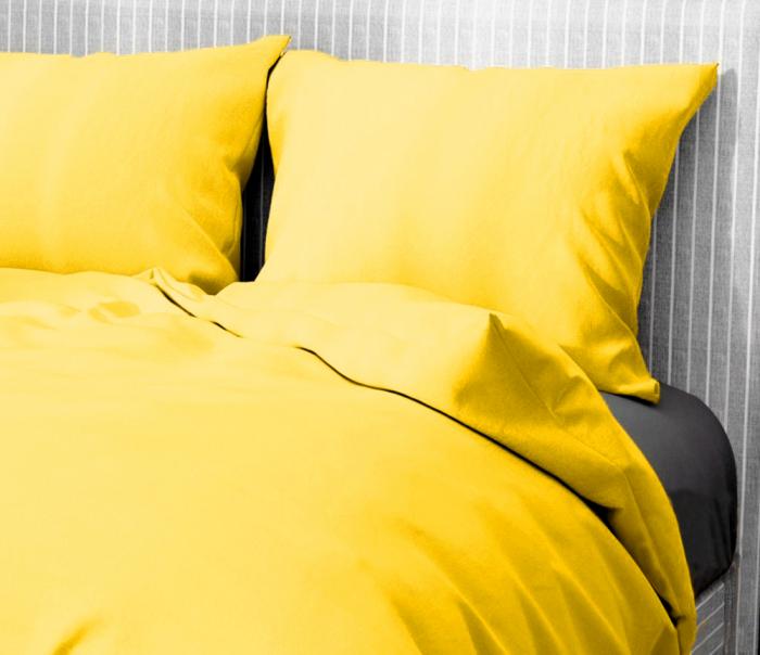 Lenjerie de pat matrimonial cu husa elastic pat si fata perna dreptunghiulara, Aiden, bumbac satinat, gramaj tesatura 120 g/mp, galben [1]