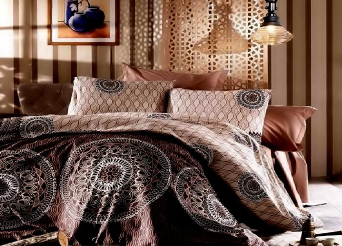 Lenjerie de pat matrimonial cu husa elastic pat si fata perna dreptunghiulara, Bali, bumbac satinat, gramaj tesatura 120 g/mp, multicolor 0