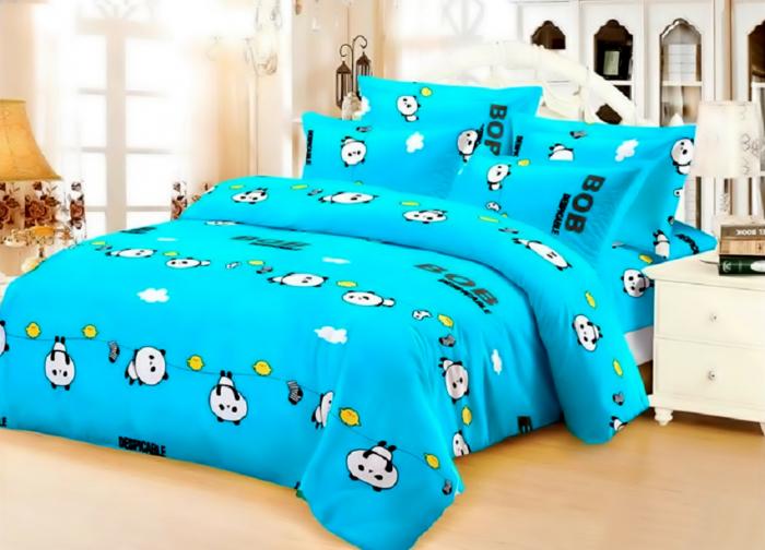 Lenjerie de pat matrimonial cu husa elastic pat si fata perna dreptunghiulara, Bob, bumbac mercerizat, multicolor [0]