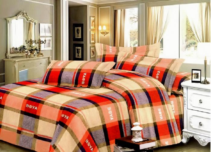 Lenjerie de pat matrimonial cu husa elastic pat si fata perna dreptunghiulara, Boya, bumbac mercerizat, multicolor 0