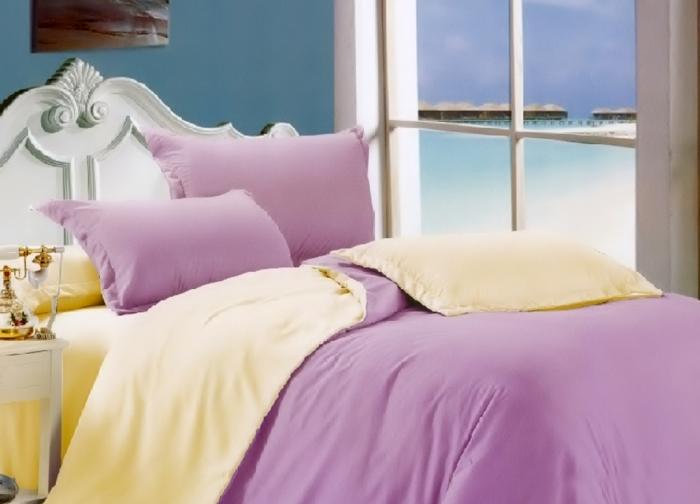 Lenjerie de pat matrimonial cu husa elastic pat si fata perna dreptunghiulara, California, bumbac satinat, gramaj tesatura 120 g/mp, Lila 0