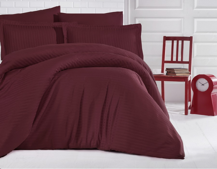 Lenjerie de pat pentru o persoana cu husa elastic pat si fata perna dreptunghiulara, Elegance, damasc, dunga 1 cm 130 g/mp, Bordeaux, bumbac 100% [0]