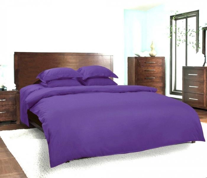 Lenjerie de pat matrimonial cu husa elastic pat si fata perna dreptunghiulara, Finley, bumbac satinat, gramaj tesatura 120 g/mp, mov [0]
