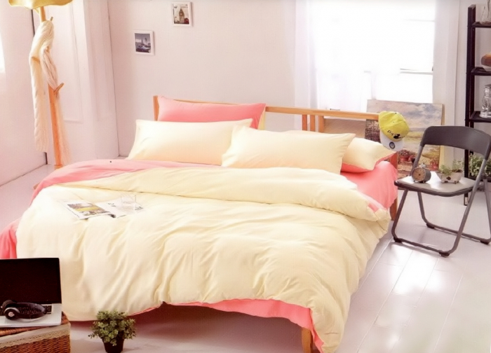 Lenjerie de pat matrimonial cu husa elastic pat si fata perna dreptunghiulara, Jollie, bumbac satinat, gramaj tesatura 120 g/mp, Roz pudra [0]