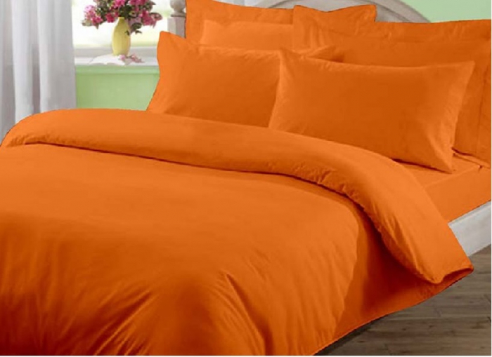 Lenjerie de pat matrimonial cu husa elastic pat si fata perna dreptunghiulara, June, bumbac satinat, gramaj tesatura 120 g/mp, Portocaliu 0