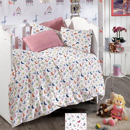 Lenjerie de pat matrimonial cu husa elastic pat si fata perna dreptunghiulara, Kids, bumbac satinat, gramaj tesatura 120 g/mp, multicolor 0