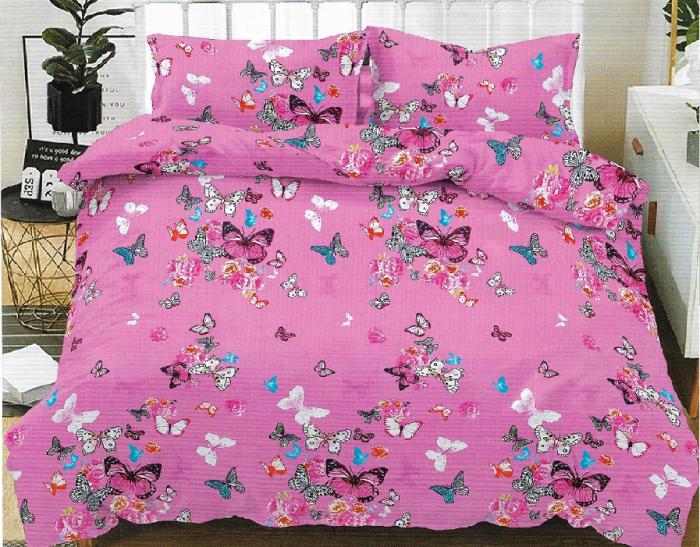 Lenjerie de pat matrimonial cu husa elastic pat si fata perna dreptunghiulara, Letti, bumbac mercerizat, multicolor 0