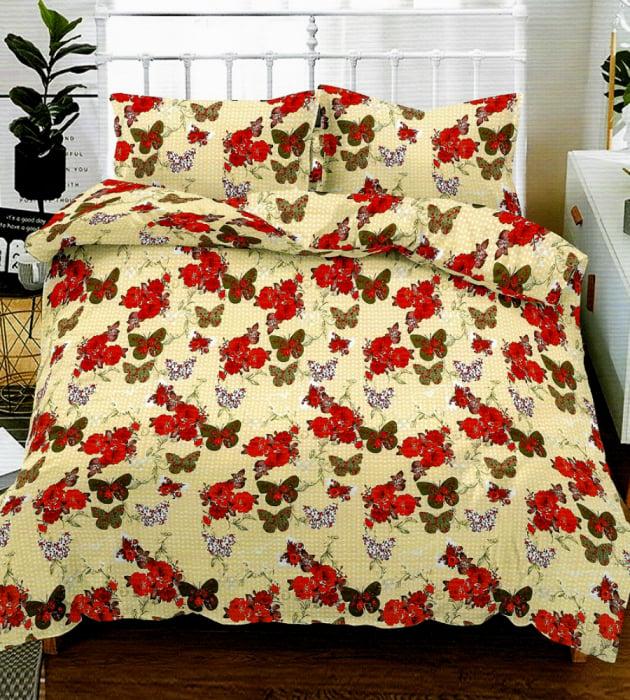 Lenjerie de pat matrimonial cu husa elastic pat si fata perna dreptunghiulara, Melbourne, bumbac mercerizat, multicolor 0
