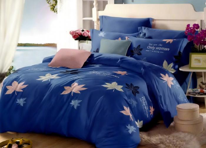 Lenjerie de pat matrimonial cu husa elastic pat si fata perna dreptunghiulara, Only woman, bumbac mercerizat, multicolor 0