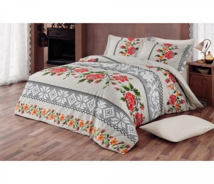 Lenjerie de pat matrimonial cu husa elastic pat si fata perna dreptunghiulara, Oshan, bumbac satinat, gramaj tesatura 120 g/mp, multicolor [0]