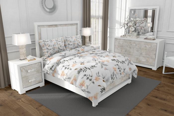 Lenjerie de pat matrimonial cu husa elastic pat si fata perna dreptunghiulara, Petra, bumbac mercerizat, multicolor [0]