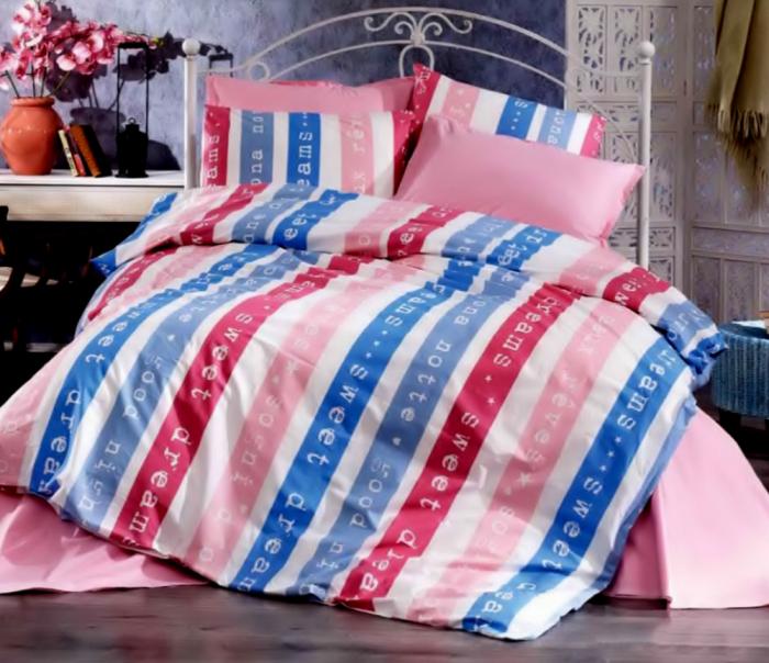 Lenjerie de pat matrimonial cu husa elastic pat si fata perna dreptunghiulara, Sweet Dream, bumbac satinat, gramaj tesatura 120 g/mp, multicolor [0]