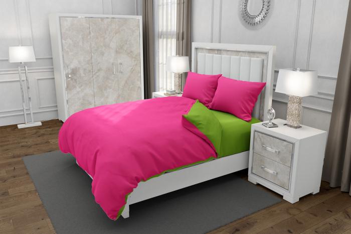 Lenjerie de pat pentru o persoana cu 2 huse de perna patrata, Duo Green, bumbac satinat, gramaj tesatura 120 g/mp, Fucsia/Verde, 4 piese [0]