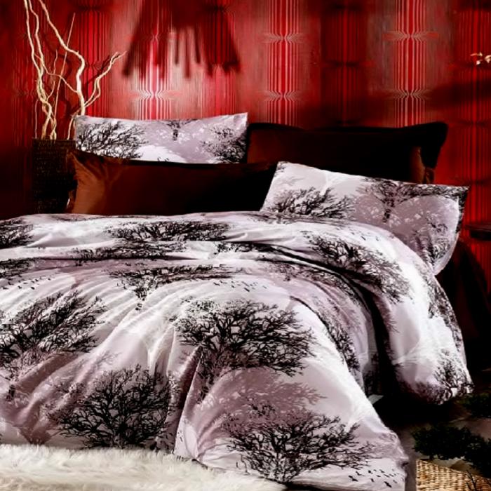 Lenjerie de pat matrimonial cu husa elastic pat si fata perna patrata, Nature, bumbac satinat, gramaj tesatura 120 g/mp, multicolor 0