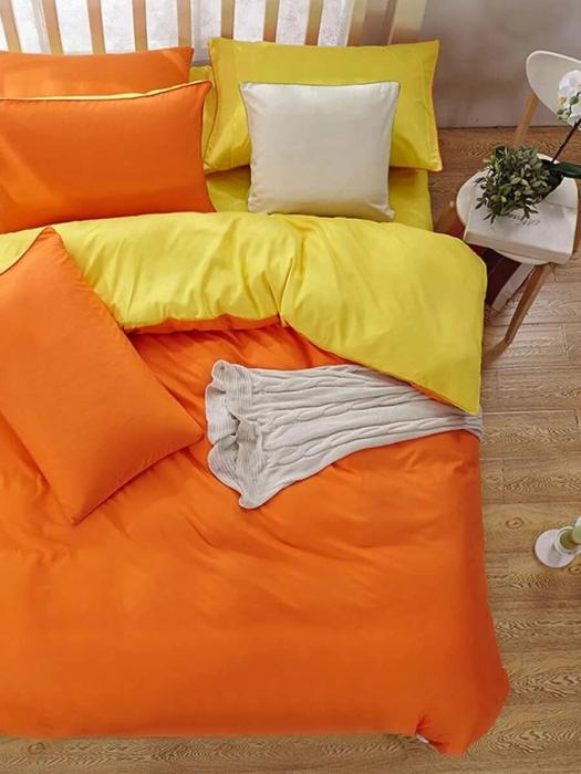 Lenjerie de pat matrimonial cu husa elastic pat si fata perna patrata, Watford, bumbac satinat, gramaj tesatura 120 g/mp, Portocaliu 1