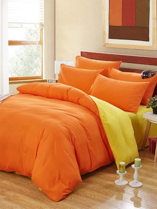 Lenjerie de pat matrimonial cu husa elastic pat si fata perna patrata, Watford, bumbac satinat, gramaj tesatura 120 g/mp, Portocaliu 0