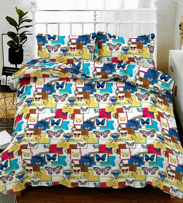 Lenjerie de pat matrimonial cu husa elastic pat si fata perna dreptunghiulara, Alive, bumbac mercerizat, multicolor [0]