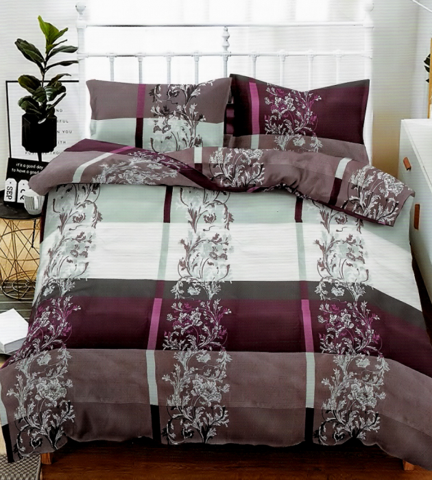 Lenjerie de pat matrimonial SUPER cu husa de perna dreptunghiulara, Relax, bumbac mercerizat, multicolor 0
