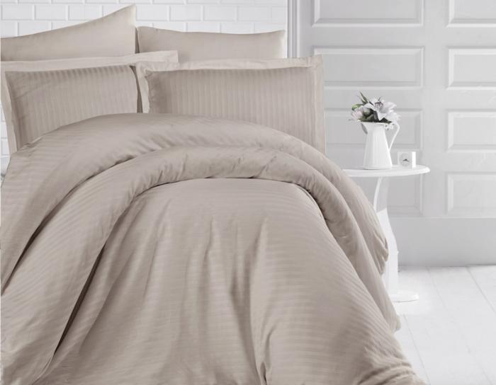Lenjerie de pat matrimonial XXL cu husa de perna dreptunghiulara, Elegance, damasc, dunga 1 cm 160 g/mp, Cappuccino, bumbac 100% 0