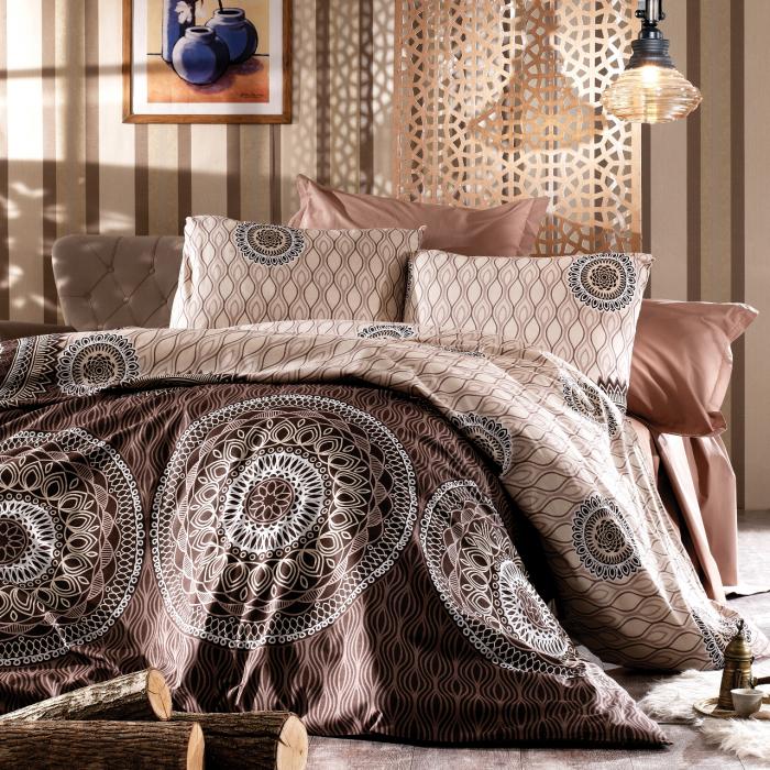 Lenjerie de pat pentru o persoana cu husa de perna dreptunghiulara, Bali, bumbac satinat, gramaj tesatura 120 g/mp, multicolor [0]