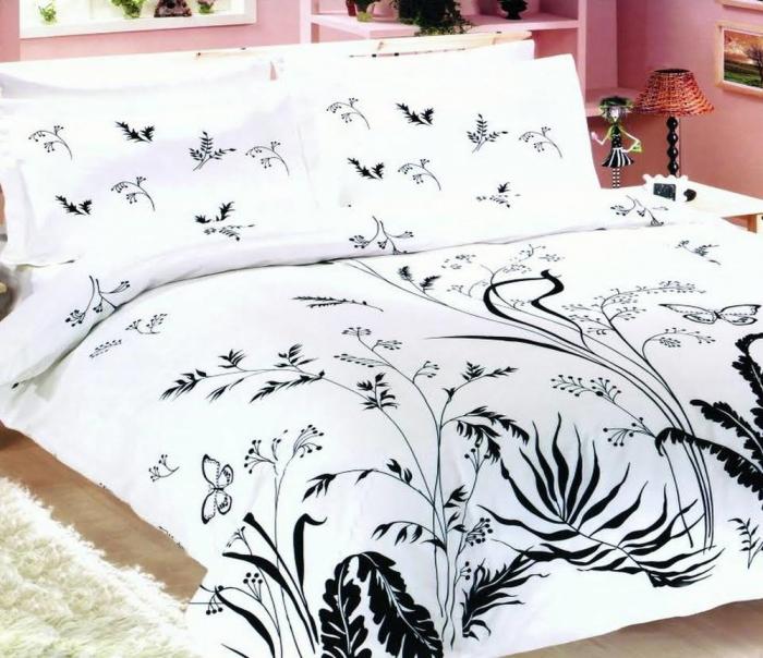 Lenjerie de pat pentru o persoana cu husa de perna dreptunghiulara, Brielle, bumbac satinat, gramaj tesatura 120 g/mp, multicolor [0]