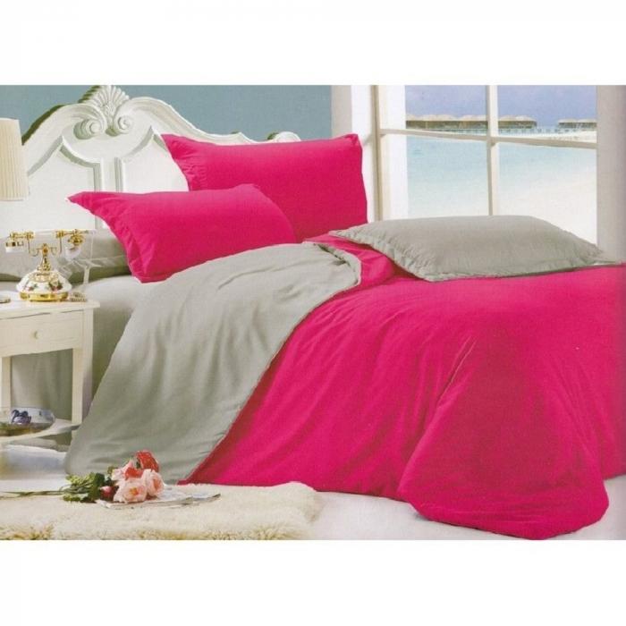 Lenjerie de pat pentru o persoana cu husa de perna dreptunghiulara, Bulls, bumbac satinat, gramaj tesatura 120 g/mp, Roz [0]