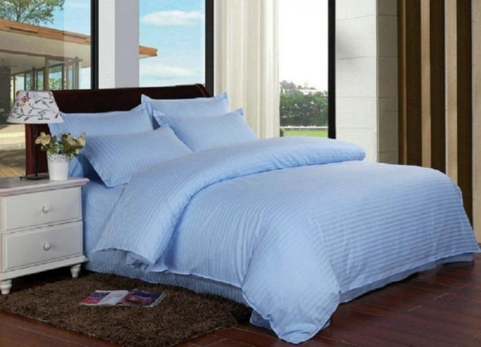 Lenjerie de pat pentru o persoana cu husa de perna dreptunghiulara, Elegance, damasc, dunga 1 cm 130 g/mp, Albastru, bumbac 100% [1]