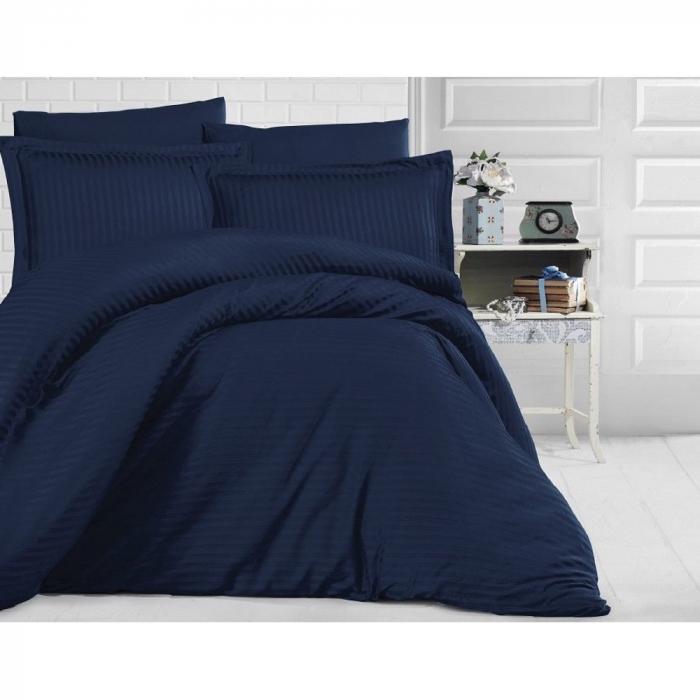 Lenjerie de pat pentru o persoana cu husa de perna dreptunghiulara, Elegance, damasc, dunga 1 cm 130 g/mp, Bleumarin, bumbac 100% [0]