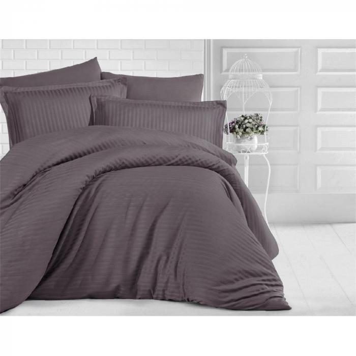 Lenjerie de pat pentru o persoana cu husa de perna dreptunghiulara, Elegance, damasc, dunga 1 cm 130 g/mp, Kahverengi, bumbac 100% 0