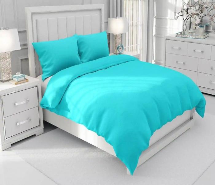 Lenjerie de pat pentru o persoana cu husa de perna dreptunghiulara, Leah, bumbac satinat, gramaj tesatura 120 g/mp, turcoaz [2]